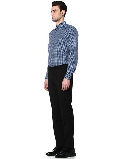 Eton Kareli Uzun Kollu Gömlek Mavi